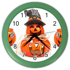 Funny Halloween Pumpkins Color Wall Clocks by gothicandhalloweenstore