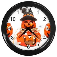 Funny Halloween Pumpkins Wall Clocks (black) by gothicandhalloweenstore