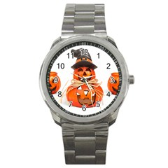 Funny Halloween Pumpkins Sport Metal Watch by gothicandhalloweenstore