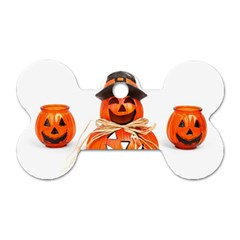 Funny Halloween Pumpkins Dog Tag Bone (two Sides) by gothicandhalloweenstore