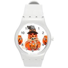 Funny Halloween Pumpkins Round Plastic Sport Watch (m) by gothicandhalloweenstore