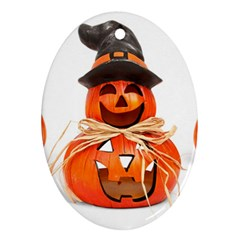 Funny Halloween Pumpkins Oval Ornament (two Sides) by gothicandhalloweenstore