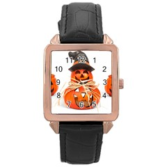 Funny Halloween Pumpkins Rose Gold Leather Watch  by gothicandhalloweenstore