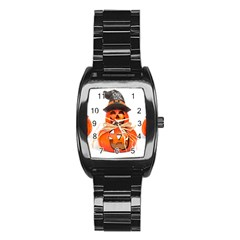 Funny Halloween Pumpkins Stainless Steel Barrel Watch by gothicandhalloweenstore