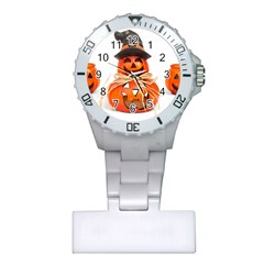 Funny Halloween Pumpkins Plastic Nurses Watch by gothicandhalloweenstore