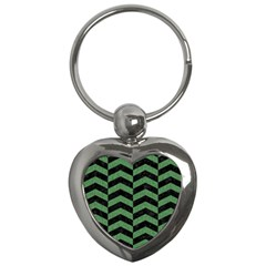 Chevron2 Black Marble & Green Denim Key Chains (heart)  by trendistuff