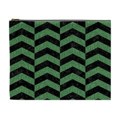 Chevron2 Black Marble & Green Denim Cosmetic Bag (xl) by trendistuff
