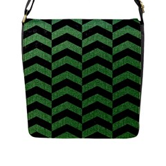 Chevron2 Black Marble & Green Denim Flap Messenger Bag (l)  by trendistuff