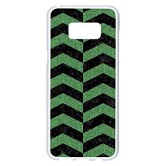 Chevron2 Black Marble & Green Denim Samsung Galaxy S8 Plus White Seamless Case by trendistuff