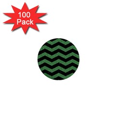 Chevron3 Black Marble & Green Denim 1  Mini Buttons (100 Pack)  by trendistuff