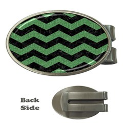 Chevron3 Black Marble & Green Denim Money Clips (oval)  by trendistuff