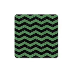 Chevron3 Black Marble & Green Denim Square Magnet by trendistuff