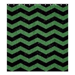 Chevron3 Black Marble & Green Denim Shower Curtain 66  X 72  (large)  by trendistuff