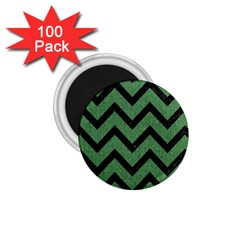 Chevron9 Black Marble & Green Denim 1 75  Magnets (100 Pack)  by trendistuff