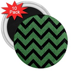 Chevron9 Black Marble & Green Denim 3  Magnets (10 Pack)  by trendistuff
