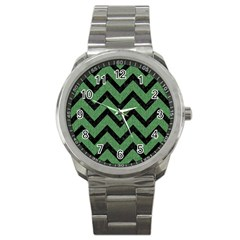Chevron9 Black Marble & Green Denim Sport Metal Watch by trendistuff