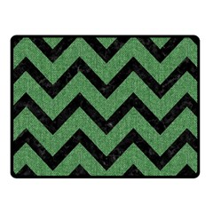 Chevron9 Black Marble & Green Denim Fleece Blanket (small)