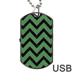 Chevron9 Black Marble & Green Denim Dog Tag Usb Flash (one Side) by trendistuff