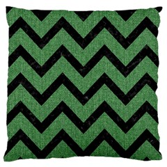 Chevron9 Black Marble & Green Denim Large Cushion Case (one Side) by trendistuff