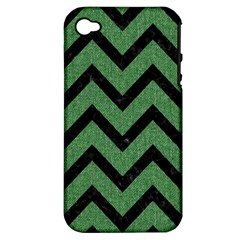 Chevron9 Black Marble & Green Denim Apple Iphone 4/4s Hardshell Case (pc+silicone)