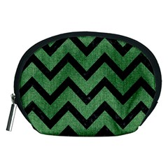 Chevron9 Black Marble & Green Denim Accessory Pouches (medium)  by trendistuff