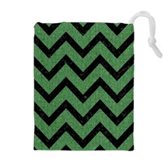 Chevron9 Black Marble & Green Denim Drawstring Pouches (extra Large)