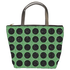 Circles1 Black Marble & Green Denim Bucket Bags by trendistuff