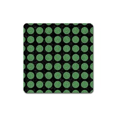 Circles1 Black Marble & Green Denim (r) Square Magnet by trendistuff