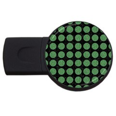 Circles1 Black Marble & Green Denim (r) Usb Flash Drive Round (4 Gb)