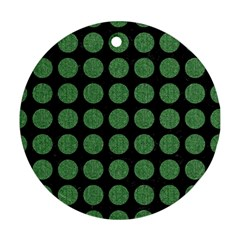 Circles1 Black Marble & Green Denim (r) Round Ornament (two Sides) by trendistuff