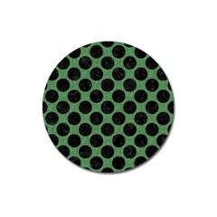 Circles2 Black Marble & Green Denim Magnet 3  (round) by trendistuff