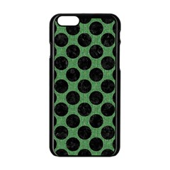 Circles2 Black Marble & Green Denim Apple Iphone 6/6s Black Enamel Case by trendistuff