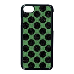 Circles2 Black Marble & Green Denim Apple Iphone 8 Seamless Case (black) by trendistuff