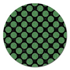 Circles2 Black Marble & Green Denim (r) Magnet 5  (round) by trendistuff