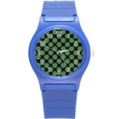 Circles2 Black Marble & Green Denim (r) Round Plastic Sport Watch (s) by trendistuff