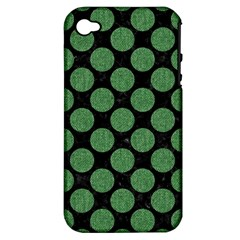 Circles2 Black Marble & Green Denim (r) Apple Iphone 4/4s Hardshell Case (pc+silicone)