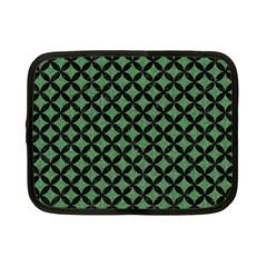 Circles3 Black Marble & Green Denim Netbook Case (small)  by trendistuff