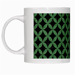 Circles3 Black Marble & Green Denim (r) White Mugs by trendistuff