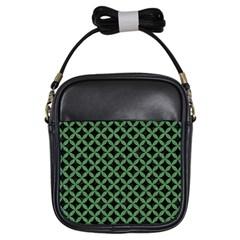 Circles3 Black Marble & Green Denim (r) Girls Sling Bags by trendistuff