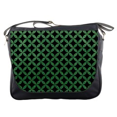 Circles3 Black Marble & Green Denim (r) Messenger Bags by trendistuff