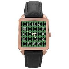 Diamond1 Black Marble & Green Denim Rose Gold Leather Watch  by trendistuff