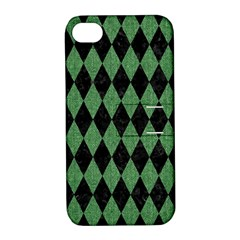 Diamond1 Black Marble & Green Denim Apple Iphone 4/4s Hardshell Case With Stand by trendistuff