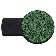 Damask1 Black Marble & Green Denim Usb Flash Drive Round (2 Gb) by trendistuff