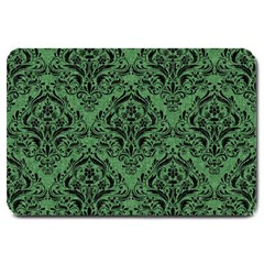 Damask1 Black Marble & Green Denim Large Doormat  by trendistuff