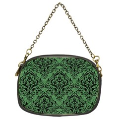 Damask1 Black Marble & Green Denim Chain Purses (two Sides)  by trendistuff