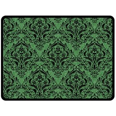 Damask1 Black Marble & Green Denim Fleece Blanket (large)  by trendistuff