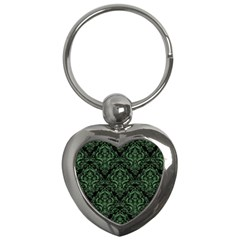 Damask1 Black Marble & Green Denim (r) Key Chains (heart)  by trendistuff
