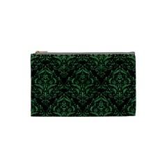 Damask1 Black Marble & Green Denim (r) Cosmetic Bag (small)