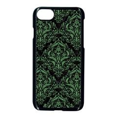 Damask1 Black Marble & Green Denim (r) Apple Iphone 8 Seamless Case (black) by trendistuff