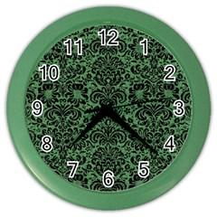 Damask2 Black Marble & Green Denim Color Wall Clocks by trendistuff